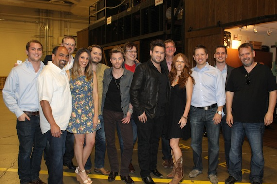 Celebrating backstage following the duo's Opry debut (l-r):  Hill Entertainment Group's Josh Hunter; Sony Music Nashville's Paul Barnabee, Allen Brown, Sarah Westbrook, and Nick Barnes; Colton Swon; Arista Nashville's John Sigler; Zach Swon; Hill Entertainment Group's Greg Hill; Arista's Lauren Thomas and Ryan Dokke; Hill Entertainment Group's Scott Whitley; and Arista's Andy Elliott.