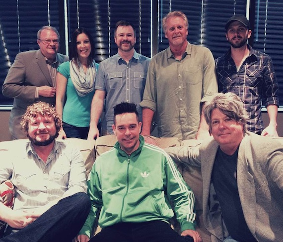 Pictured are (L-R): Seated - Combustion Music's Chris Van Belkom, Bobby Huff, Disney Music Publishing's Patrick Clifford. Standing - Attorney Jim Zumwalt, Disney's Ciara Gardner, Warner Chappell Music Publishing's Ben Vaughn, Combustion's Chris Farren and Kenley Flynn.