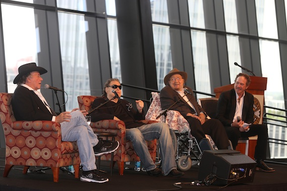 Pictured (L-R): Bobby Bare, Ronnie Milsap, and Mac Wiseman participate in a panel hosted by Kix Brooks at the 11th Annual CMA Artist Luncheon following the announcement that Milsap and Wiseman are the newest inductees to the Country Music Hall of Fame. Photo: Alan Poizner / CMA