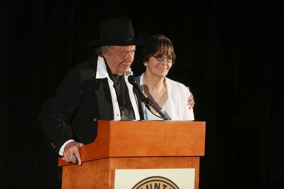 """Bobby Bare and Suzi Cochran announce the late Hank Cochran as the """"Songwriter"""" inductee. Photo: Alan Poizner / CMA"""