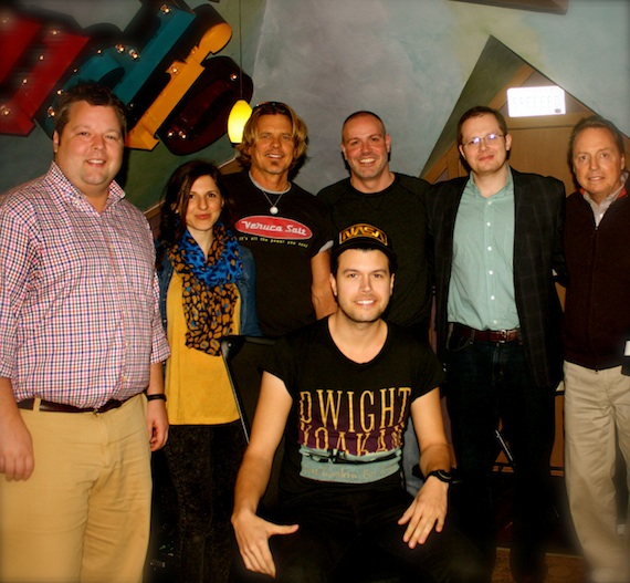 Pictured, (L-R):  BMI Executive Director Bradley Collins, 3 Ring Circus Music Director of A&R/Artist Management Casey LeVasseur, 3 Ring Circus Music President Jeffrey Steele, Franklin Publishing & Management President Darrell Franklin, Almon Law senior associate Noah McPike and BMI Vice President Jody Williams. Singer-songwriter Adam James (center).