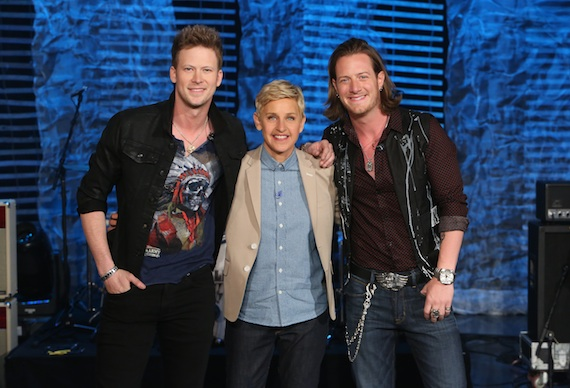 Pictured (L-R): FGL's Brian Kelley, Ellen and FGL's Tyler Hubbard.