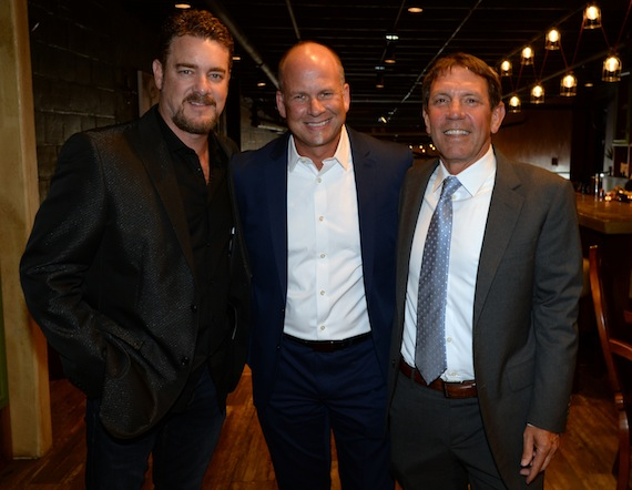 Pictured at tonight's (May 12) TJ Martell fundraiser, the Roast of Rob Beckham (L-R): WME's Beckham, Kevin Neal, and Greg Oswald.