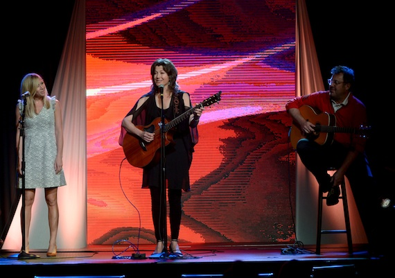 Ellie Bannister Holcomb, Amy Grant and Vince Gill perform during the GMA Honors.