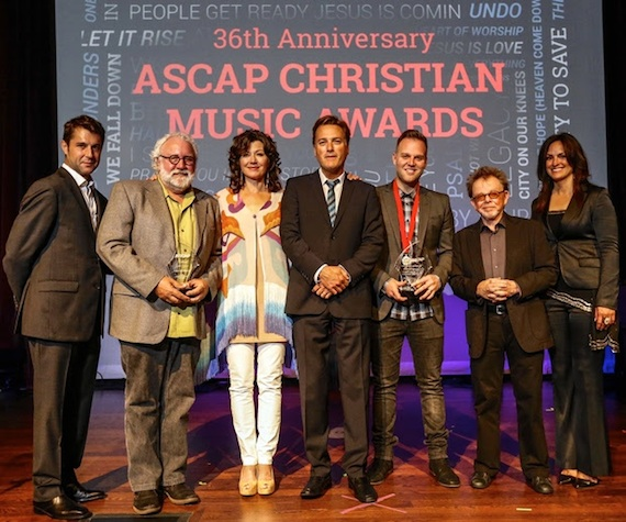 Pictured (L-R): ASCAP's Michael Martin, Capitol CMG Publishing's Eddie DeGarmo, Amy Grant, Michael W. Smith, Matthew West, ASCAP's Paul Williams and LeAnn Phelan. Photo by Ed Rode.