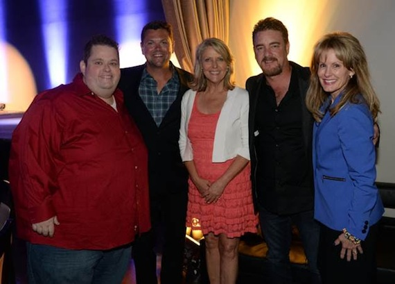 Pictured (L-R): Comedian and Master of Ceremonies Ralphie May; Storme Warren; Tinti Moffat, Director of Strategic Development, Southern Region - T.J. Martell Foundation; honoree Rob Beckham; Laura Heatherly, CEO of the T.J. Martell Foundation.