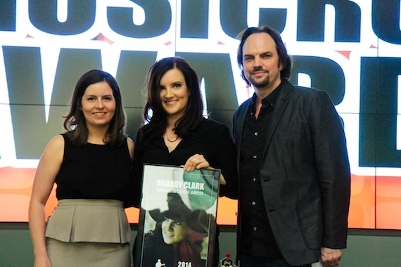 Pictured (L-R): MusicRow's Sarah Skates, MusicRow Breakthrough Artist of the Year Brandy Clark and MusicRow Owner/Publisher Sherod Robertson. Photo: Bev Moser/Moments By Moser