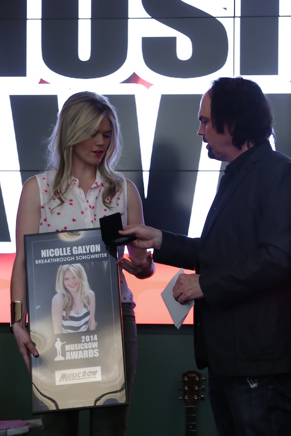 "Nicolle Galyon is honored as one of MusicRow's Breakthrough Songwriters of the Year, and is honored with a MusicRow Challenge Coin for her MusicRow CountryBreakout chart-topping hit ""Automatic."""