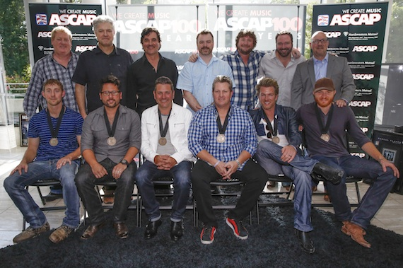 Pictured (l-r, front row): ASCAP co-writers Ashley Gorley and Chris DeStefano; Rascal Flatts' Joe Don Rooney, Gary LeVox and Jay DeMarcus; and co-writer Eric Paslay. (l-r, back row): ASCAP's Mike Sistad; Cal IV Entertainment's Daniel Hill; Big Machine Label Group President & CEO Scott Borchetta; Warner/Chappell Music Publishing's Ben Vaughn; Combustion Music's Chris Van Belkom; Sony/ATV Music Publishing's Josh Van Valkenburg; and Big Machine Records' Jack Purcell. Photo: Ed Rode.