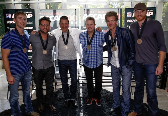 Pictured (L-R): Ashley Gorley, Chris DeStefano, Jay DeMarcus, Gary LeVox, Joe Don Rooney, and Eric Paslay.