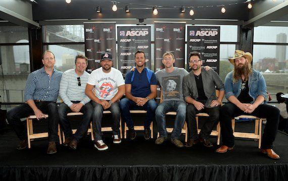 Pictured (L-R): Jim Beavers, Rodney Clawson, Dallas Davidson, Luke Bryan, Ashley Gorley, Chris DeStefano, Chris Stapleton