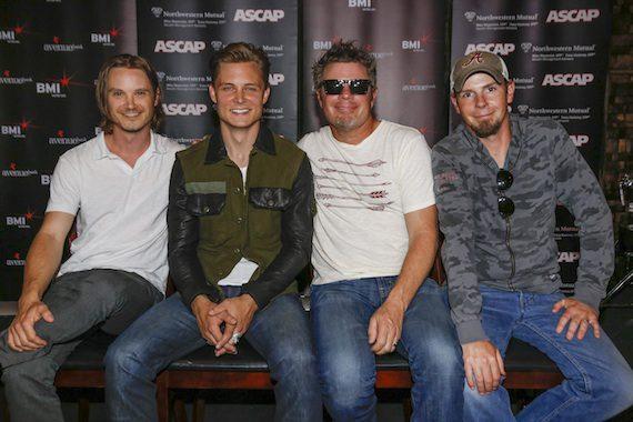 Pictured (L-R): Josh Kear, Frankie Ballard, Rodney Clawson, Chris Tompkins. Photo: Ed Rode.