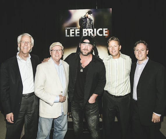 Pictured (L-R): Curb Records CEO Jim Ed Norman; Moderator Robert K. Oermann; Lee Brice; Curb Records VP/Sales Benson Curb; Curb Records VP/Marketing Jeff Tuerff. Photo: Jake Giles Netter/This City's Full