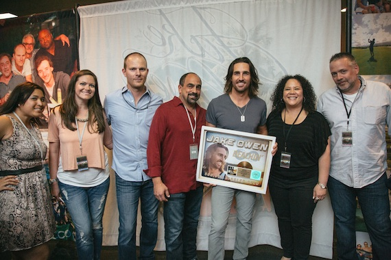 Pictured (L-R): Sony Music Nashville's Marketing Coordinator Lyssa Wheaton and Director of Publicity Jennifer Vessio, Manager Brandon Gill, Sony Music Nashville's Senior VP Marketing Paul Barnabee, Jake Owen, Sony Music Nashville's Director of Marketing Rachel Fontenot and SVP, RCA Promotion Keith Gale