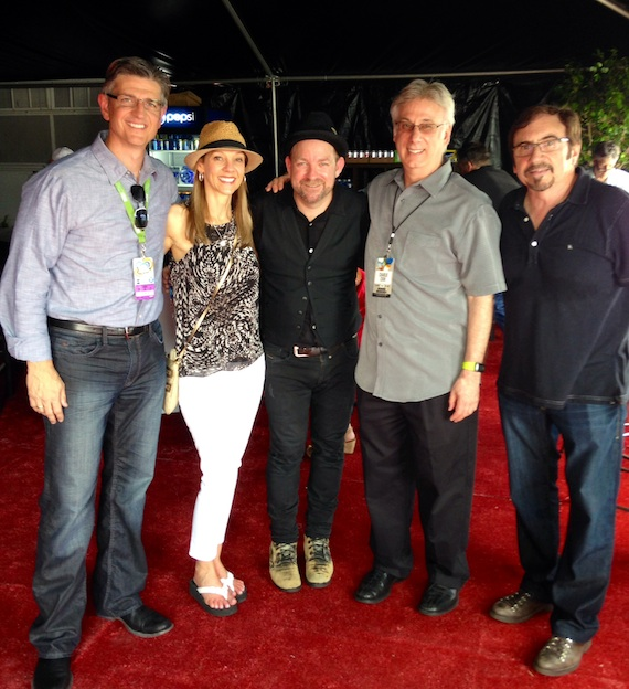 Pictured (L-R): Streamsound Records Pres./CEO Steve Richardson, Streamsound Records VP/Promotion & Strategic Marketing Teddi Bonadies, Kristian Bush, Cumulus/Nashville Operations Manager Charlie Cook and Music Producer Byron Gallimore. Photo: Courtesy of Streamsound Records