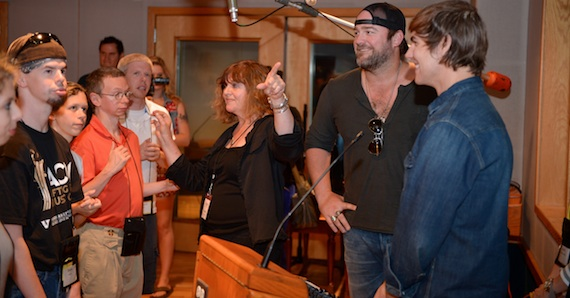 ACM Lifting Lives Music Campers record a song with Lee Brice and Ross Copperman during the Studio Day at Ocean Way Studios.