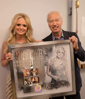 He presented Miranda Lambert with a special album achievement award celebrating her four Platinum albums during her visit to The Tonight Show Starring Jimmy Fallon.