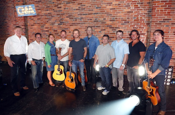 "Pictured (L-R): Denis Gallagher, Partner, ""Front and Center""; Don Maggi, Managing Partner and Executive Producer, ""Front and Center""; Sarah Trahern, CMA Chief Executive Officer; Jon Randall, songwriter; Dierks Bentley; Jim Beavers, songwriter; Tom Becci, Chief Operations Officer and Senior Vice President, UMG Nashville; Ben Vaughn, Executive Vice President, Warner/Chappell Music and CMA Board member; Brett James, songwriter and CMA Board member; Ross Copperman, songwriter. Photo: Donn Jones / CMA"