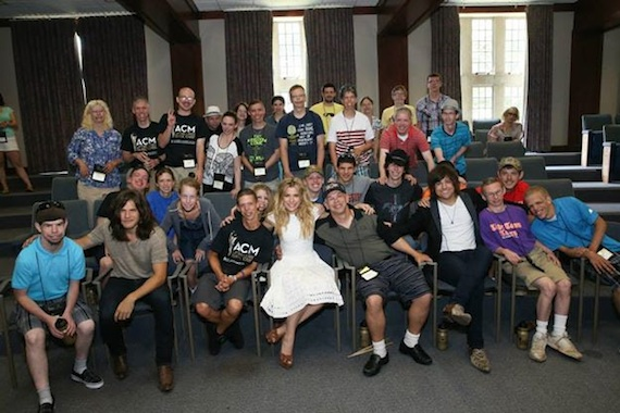Pictured (L-R): The Band Perry pose with the campers at ACM Lifting Lives Music Camp 2014.