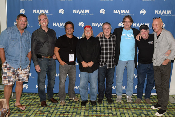 "Recording Artist Vince Gill, Joe Lamond President & CEO NAMM, Recording Artist Brent Mason, Tom Bedell of Two Old Hippies, Recording Artist Paul Franklin, Recording Artist John Hobbs, Recording Artist Eddie Bayers and Recording Artist Michael Rhodes backstage before Vince Gill Hosts ""Insight: Iconic Artists And The Gear That Inspires Them"" To Kick Off Summer NAMM, July 17-19 In Nashville at Music City Center on July 16, 2014 in Nashville, Tennessee. (Photo: Rick Diamond/Getty Images for NAMM)"