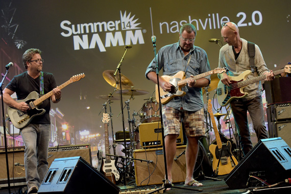 "Brent Mason, Vince Gill and Michael Rhodes of The Players perform as Vince Gill Hosts ""Insight: Iconic Artists And The Gear That Inspires Them,"" Photo: Rick Diamond/Getty Images for NAMM)"