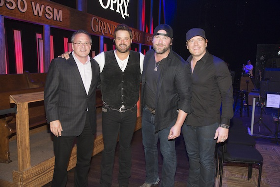 Pictured (L-R): Pete Fisher, Grand Ole Opry General Manager; Randy Houser; Lee Brice; Jerrod Niemann. Photo: Chris Hollo for the Grand Ole Opry 2014.