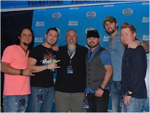 Pictured (L-R): Jason Paxton, Casey Joe Kelly, Sirius XM's senior director of country programming John Marks, Waylon Owings, Josh Coleman and Smiley Norris.