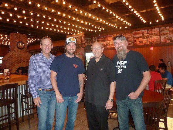 Pictured (L-R): BMI's Dan Spears, Brandon Kinney, Famous Dave's President & CEO Ed Rensi, Kendell Marvel.