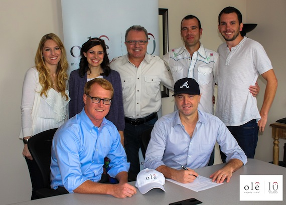 Back, from left: Shellien Kinsey (ole, Creative Coordinator), Emily Mueller (ole, Creative Mananger), Gilles Godard ( ole, VP Business Development), Austen Adams (Dickinson Wright, PLLC), and Ben Strain (ole, Creative Director). Front, from left:  John Ozier (ole, GM Creative Nashville), Songwriter/Producer Jeremy Stover.