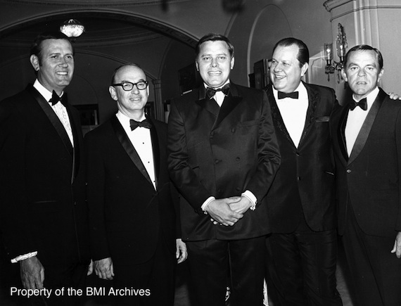1969 BMI Country Awards. Pictured (L-R): Jimmy C. Newman, Ed Cramer, Tom T. Hall, Jimmy Key, and Bob Jennings (Photo by Bill Preston: Property of the BMI Archives)