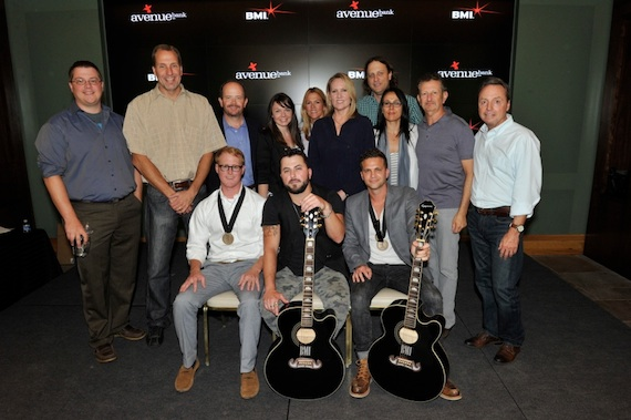 Front row (L-R): John Ozier, Tyler Farr, Phillip Larue. Second row (L-R):  Curb Music's Colt Cameron,  Sony ATV's Tom Luteran,  Curb Music's Drew Alexander, Maxx Music Publishing's Kristi Brazell,  BMI's Leslie Roberts, Razor & Tie's Lisa Johnson, Ross Asher,   Sharon Tapper, and Craig Balsam, BMI's Jody Williams. Photo: Frederick Breedon.