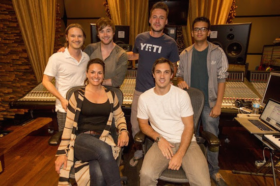 Pictured (l-r): Josh Kear, Jimmy Robbins, Love and Theft's Eric Gunderson, AC, (front row) ASCAP Nashville Creative Department co-head LeAnn Phelan and ASCAP Los Angeles Creative Director Evan Trindl Photo: Ed Rode