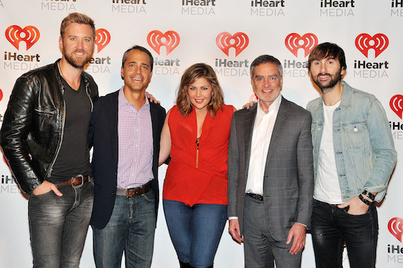 Pictured (L-R) Charles Kelly of Lady Antebellum, Tim Castelli, President of National Sales, Marketing and Partnerships for iHeartMedia, Hillary Scott, Bob Pittman, Chairman and CEO for iHeartMedia, Inc. and Dave Haywood pose during the iHeartMedia presents Lady Antebellum at the 2014 ANA Masters of Marketing annual conference at Rosen Shingle Creek Resort Hotel on October 16, 2014 in Orlando, Florida.