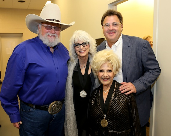 Charlie Daniels, EmmyLou Harris, Brenda Lee, and Vince Gill backstage at the 2014 Country Music Hall of Fame Induction Ceremony. Photo: Terry Wyatt