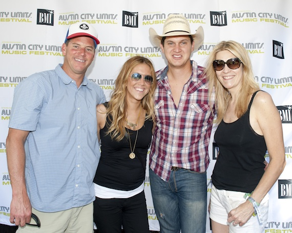 BMI's Mark Mason (far left), Penny Everhard (2nd from left) and Sama ntha Cox pause for a photo with Capitol recording artist Jon Pardi who performed on the BMI-sponsored stage at Austin City Limits Music Festival on October 3 in Austin, TX. Photo credit: Erika Goldring