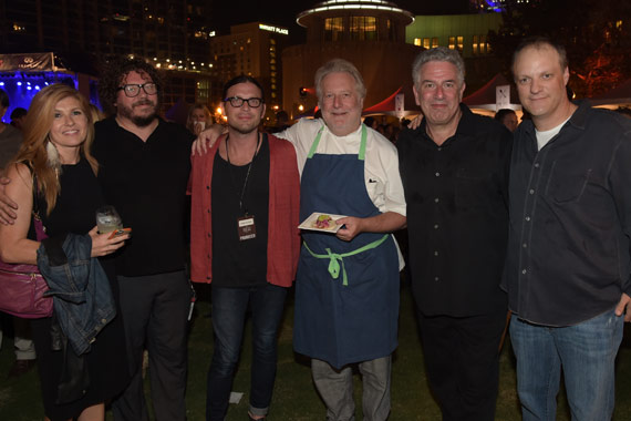 Pictured (L-R): Connie Britton, Bobby Bare Jr, Nathan Followill (Kings of Leon), Jonathan Waxman, Ken Levitan and Andy Mendelsohn. Photo: Rick Diamond