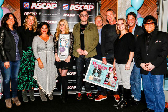 (L-R): ASCAP's LeAnn Phelan, Atom Factory's Ty Stiklorius, Big Yellow Dog Music's Carla Wallace, Meghan Trainor, Kevin Kadish, Sony/ATV's Troy Tomlinson, Epic's Paul Pontius, Sony/ATV's Abbey Adams, ASCAP's Michael Martin and ASCAP's John Titta, Photo: Ed Rode