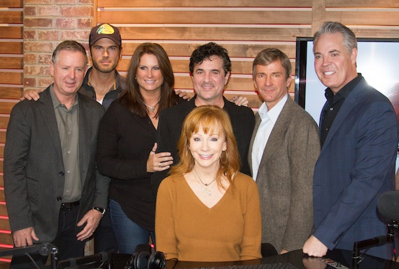 Pictured (L-R): Jim Weatherson (Nash Icon Music GM), Chuck Wicks (America's Morning Show host), Terri Clark (America's Morning Show host), Reba, Scott Borchetta (BMLG President & CEO), John Dickey (Executive Vice President of Content and Programming for Cumulus) and Blair Garner (America's Morning Show Host). Photo: Eric Heany, Cumulus