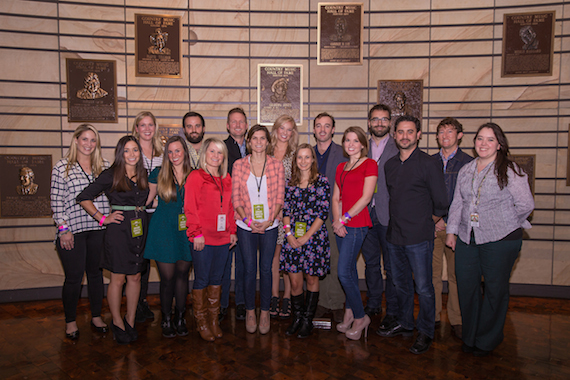 Pictured (L-R): Members of the Troubadour Society Advisory Committee: Ruth Franklin, Elizabeth Bradbury, Jake Dougher, Jim Butler, The Country Music Hall of Fame and Museum's Kasey Williams, Sam Reed, Justin Levenson, and David Plyler; (front row, l-r): Maya Akser, Kelsey Flynn, Leanne Weber, Elisa Vazzana, Katie Cline, Sarah McGrady, Jon Romero, and the Country Music Hall of Fame and Museum's Amanda Richard. Photo: Kelli Dirks/CK Photo