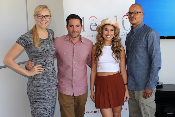 Pictured (L-R): Jennifer Essiembre (ole Creative Manager), David Weitzman (ole VP Business Development), Haley Reinhart, Leo V. Williams IV (ole GM Creative LA).