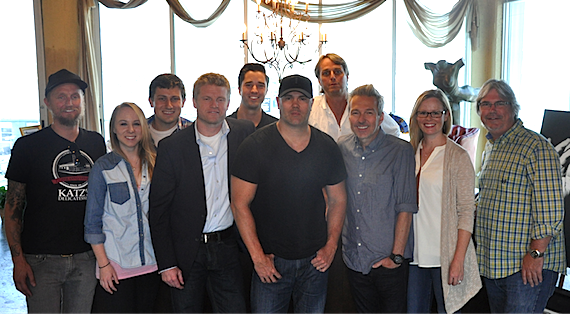 Pictured (Front row, L-R): Alex Orbison, President of Still Working Music; Chelsea Kent, Creative Director of Still Working Music; Kos Weaver, EVP BMG Chrysalis Nashville; Skip Black; Tommy Lee James, CCO of Still Working Music; Sara Knabe, Sr. Creative Director BMG Chrysalis Nashville; Chris Oglesby, VP BMG Chrysalis Nashville; (Back row): Daniel Lee, Sr. Creative Director BMG Chrysalis Nashville; Kevin Lane, Creative Director BMG Chrysalis; Chuck Fleckenstein, GM and COO of Still Working Music