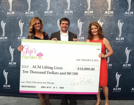 Pictured (L-R): Hannah Martin, ACM Lifting Lives Manager; Wes Perry, ACM Lifting Lives Manager of Brand Integration and Strategic Sponsorships; Gigi Butler, Founder of Gigi's Cupcakes.