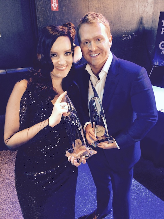 "Brandy Clark and Shane McAnally with their CMA Awards for writing the 2014 CMA Song of the Year, ""Follow Your Arrow,"" with Kacey Musgraves, who also recorded the song. Photo: Ebie McFarland"