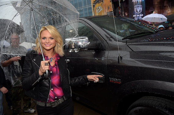 MIranda Lambert with the Ram truck that was auctioned off.