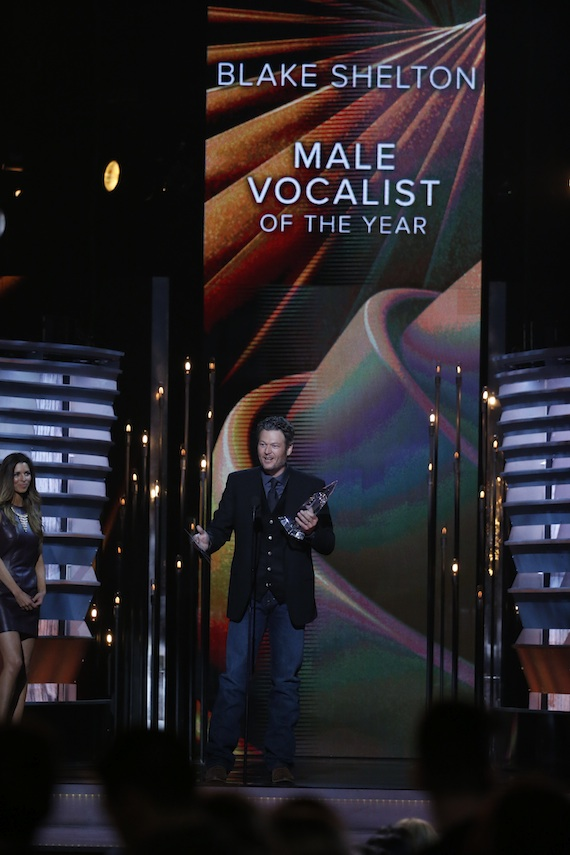 "Blake Shelton is named Male Vocalist of the Year during ""The 48th Annual CMA Awards."" Photo: John Russell / CMA"