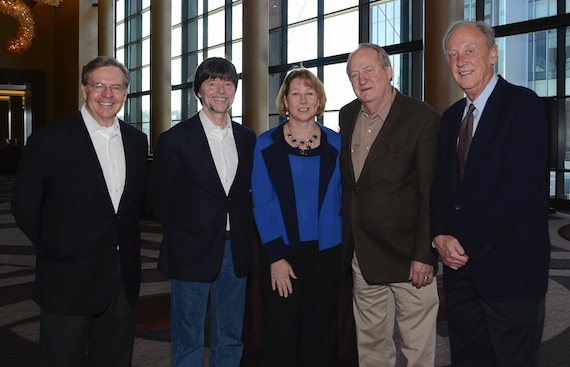 Pictured (L-R): Jim Free, CMA ex-officio Board member and President/CEO of The Smith-Free Group; Ken Burns; Sarah Trahern, CMA Chief Executive Officer; Dayton Duncan; Frank Bumstead, CMA Board President and Chairman of Flood, Bumstead, McCready & McCarthy. Photo: Caitlin Harris / CMA