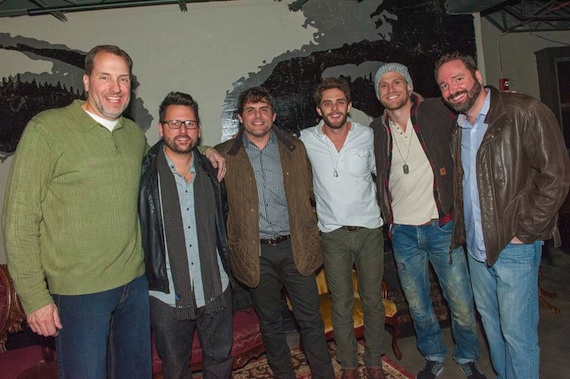 Pictured (L-R): Sony/ATV's Tom Luteran, Chris DeStefano, Akins, Rhett, Chase Rice, SATV's Josh Van Valkenburg