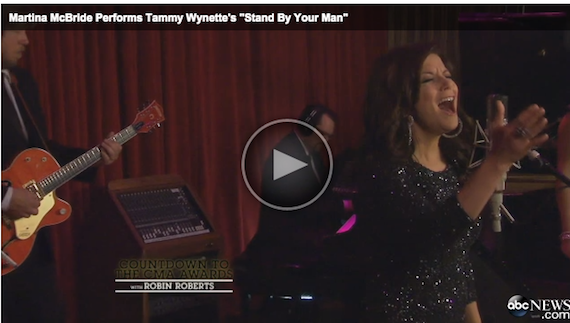 "Screen shot of Martina McBride performing ""Stand By Your Man."""