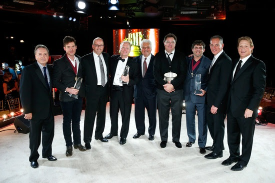 Pictured (L-R): BMI Vice President, Writer/Publisher Relations Jody Williams; Song of the Year award scribe Ketch Secor; Sony/ATV Music Publishing Co-President Danny Strick; Sony/ATV Music Publishing Nashville President and CEO Troy Tomlinson; Sony/ATV Music Publishing Chairman & CEO Martin Bandier; BMI Icon recipient Vince Gill; Songwriter of the Year winner Rhett Akins; BMI President & CEO Mike O' Neill; and BMI Assistant Vice President, Writer/Publisher Relations Clay Bradley