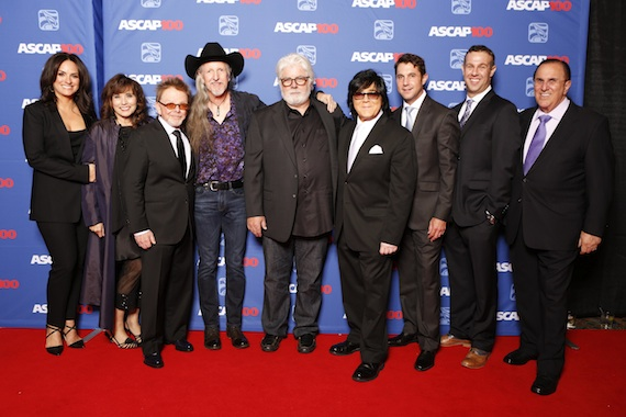 Pictured (L-R): ASCAP's LeAnn Phelan and Loretta Muñoz, ASCAP President Paul Williams, the Doobie Brothers' Patrick Simmons and Michael McDonald, ASCAP EVP of Membership John Titta, ASCAP's Michael Martin and Jason Silberman, ASCAP CEO John LoFrumento at the 2014 ASCAP Country Music Awards